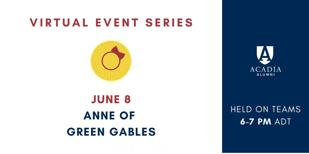 Our 3rd Virtual Event is today & there's still space if you would like to join us!   This evening's speaker is #AcadiaU alum & Dean of Arts Laura Robinson ('88), who will explore the question: Anne of Green Gables: Conservative Icon or Stealth Feminist?  https://t.co/M2fs2jnukr https://t.co/ameId6S8UV