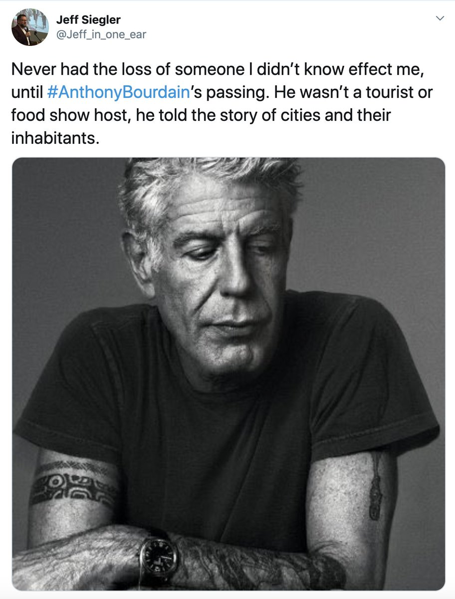 """""""It wasn't about the food; it was about interacting with fellow humans.""""  People are remembering #AnthonyBourdain on the second anniversary of his death: https://t.co/CniGDoZRrc"""