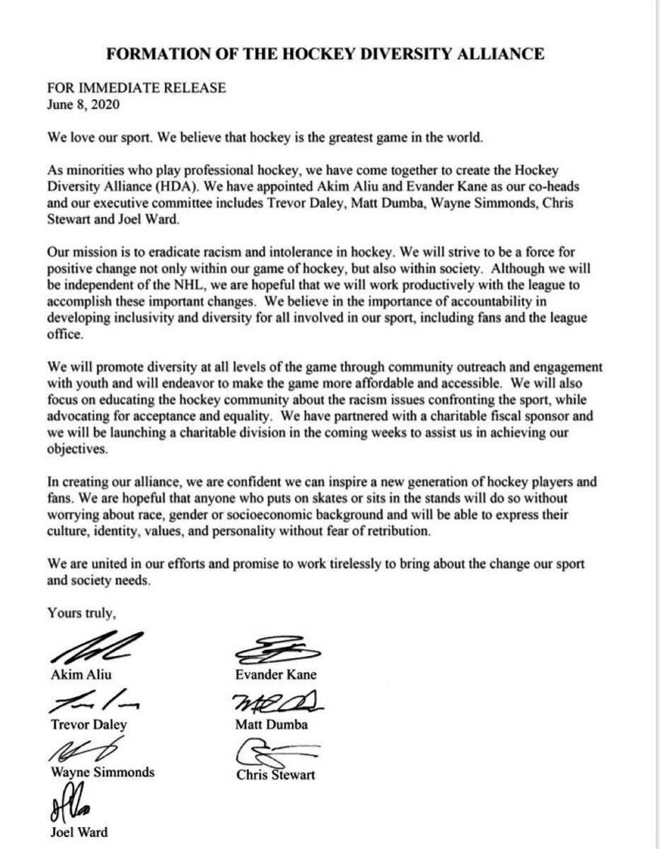 Matt Dumba On Twitter We Are Proud To Announce The Formation Of The Hockey Diversity Alliance