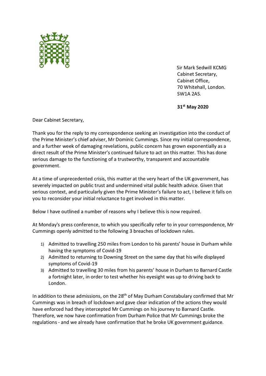 : The Cab Sec's reluctance to get involved in the on-going debacle is not satisfactory, I have asked him to reconsider. Mr Cummings made various breaches of lockdown rules and questions remain over the codes of conduct to which special advisers are bound. #DominicCummings pic.twitter.com/DML56nCEud