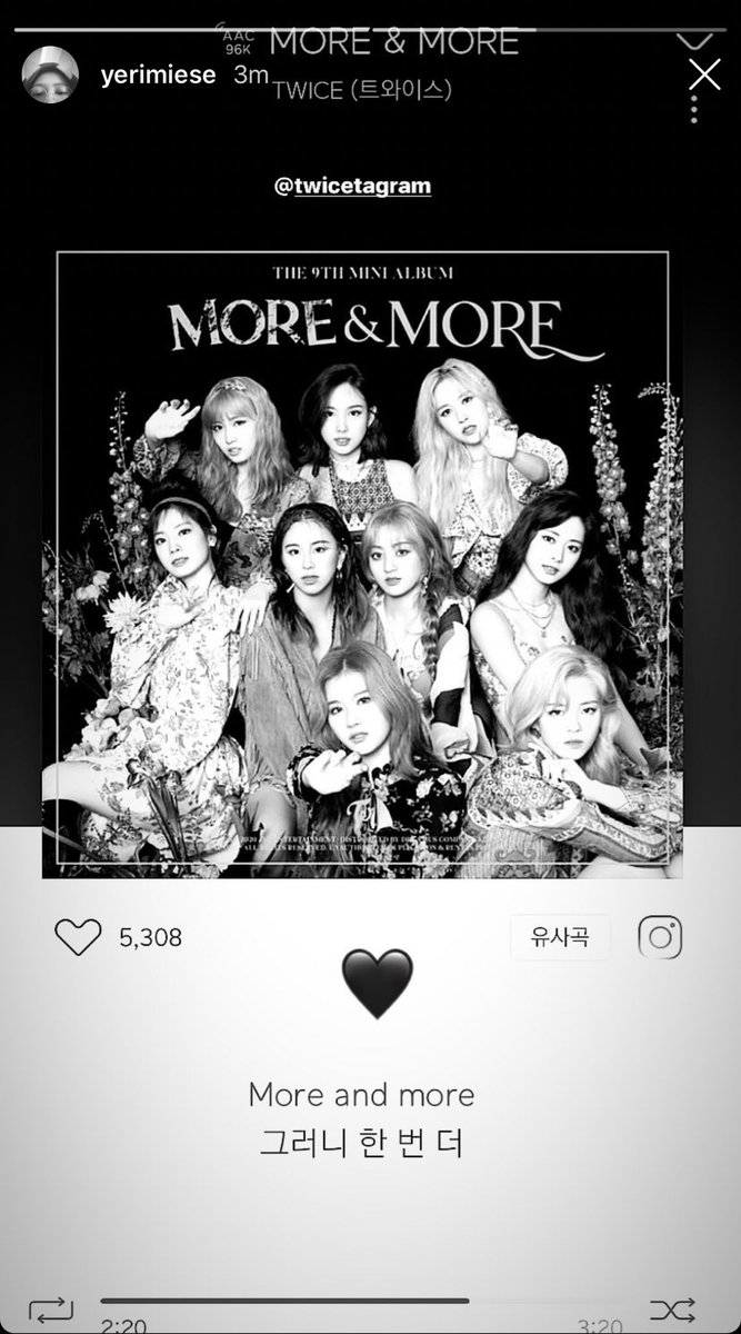 RV Yeri posted TWICEs More & More on her instagram story just now 🥰 @JYPETWICE