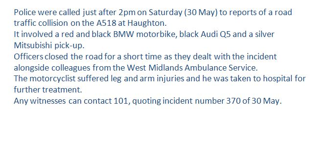 Witnesses wanted after a motorcyclist was injured in a crash near #Stafford at the weekend: https://t.co/2DlrYNtue0