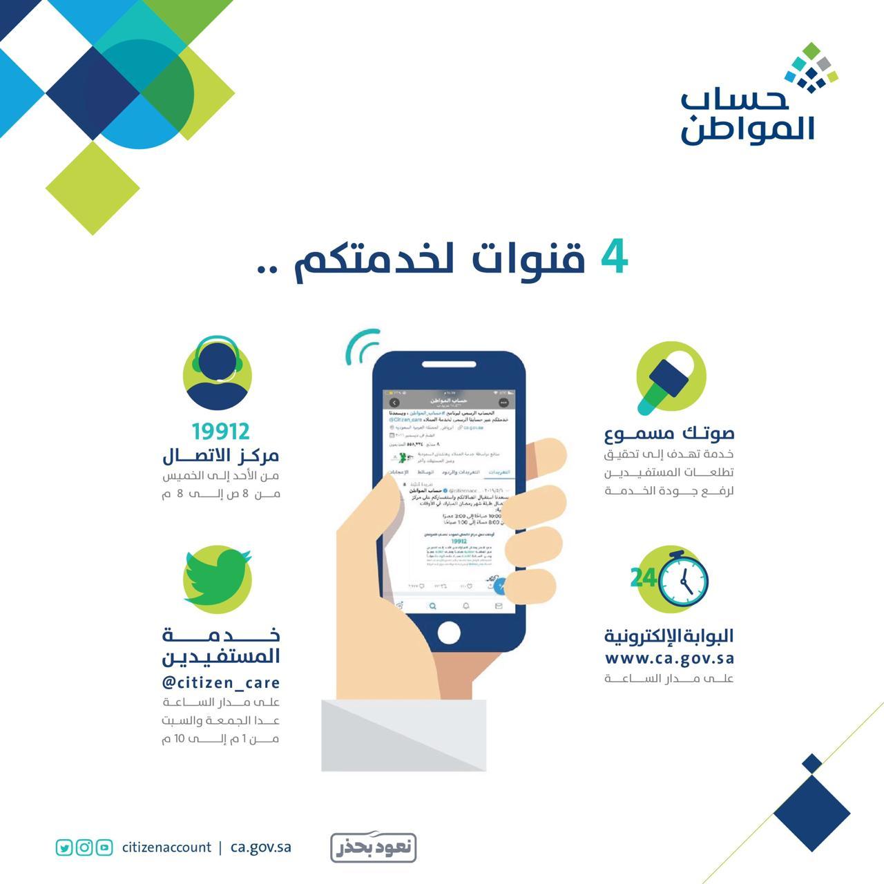 حساب المواطن On Twitter نتشرف بخدمتك تواصل معنا عبر 4 قنوات في