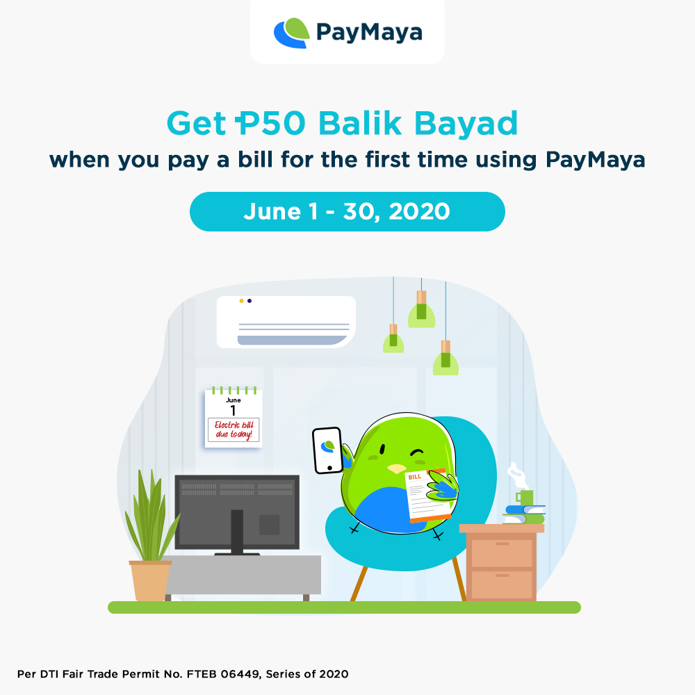 Stay at home and settle your bills using PayMaya!  Get a P50 Balik Bayad voucher on your FIRST-EVER bill payment using PayMaya. ​ Minimum payment required is P1,000. See the full mechanics at https://t.co/r0M8EsJ6wD   Basta bills, don't pay cash. PayMaya! https://t.co/MHRLGS0uli