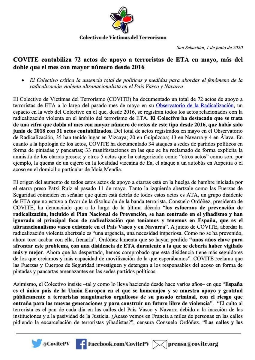 COVITE contabiliza 72 actos de apoyo a terroristas de ETA en mayo, más del doble que el mes con mayor número desde 2016.  https://t.co/Zn8OsY2n6o https://t.co/9F9sg4os6e
