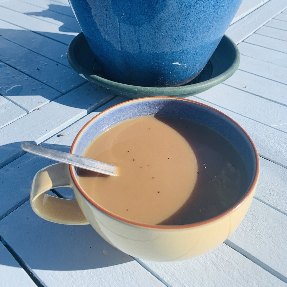 #MotivationalMonday #goodmorning #garden #birdsong #coffee #sun #FeelingGood