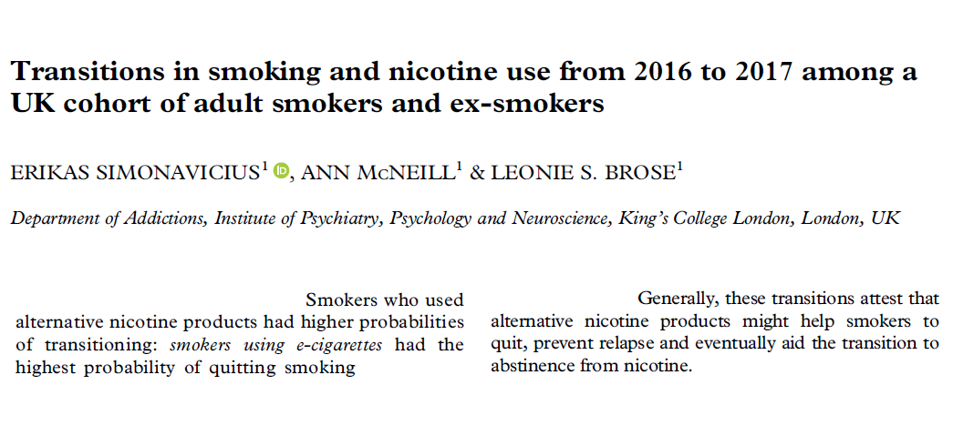 """Study finds """"dual users"""" (smoking + #vaping) are more likely to quit than other smokers. For many smokers, dual use is a transition stage leading to cessation  n=2857 smokers followed for 12 months https://t.co/JMg9L5qeSh https://t.co/odnJbDSoUB"""