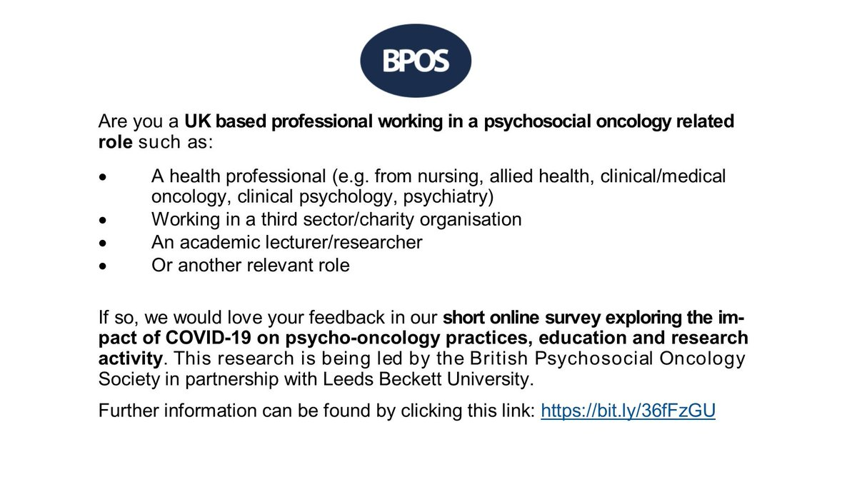 Last 2 daysto take part in our @BPOSUK COVID-19 survey of professionals working across all aspects of psycho-oncology. Help us understand how the pandemic has changed psycho-social cancer activity services practice research. Click here http://bit.ly/36fFzGU Closes tomorrow.pic.twitter.com/KNiFIV3bh6