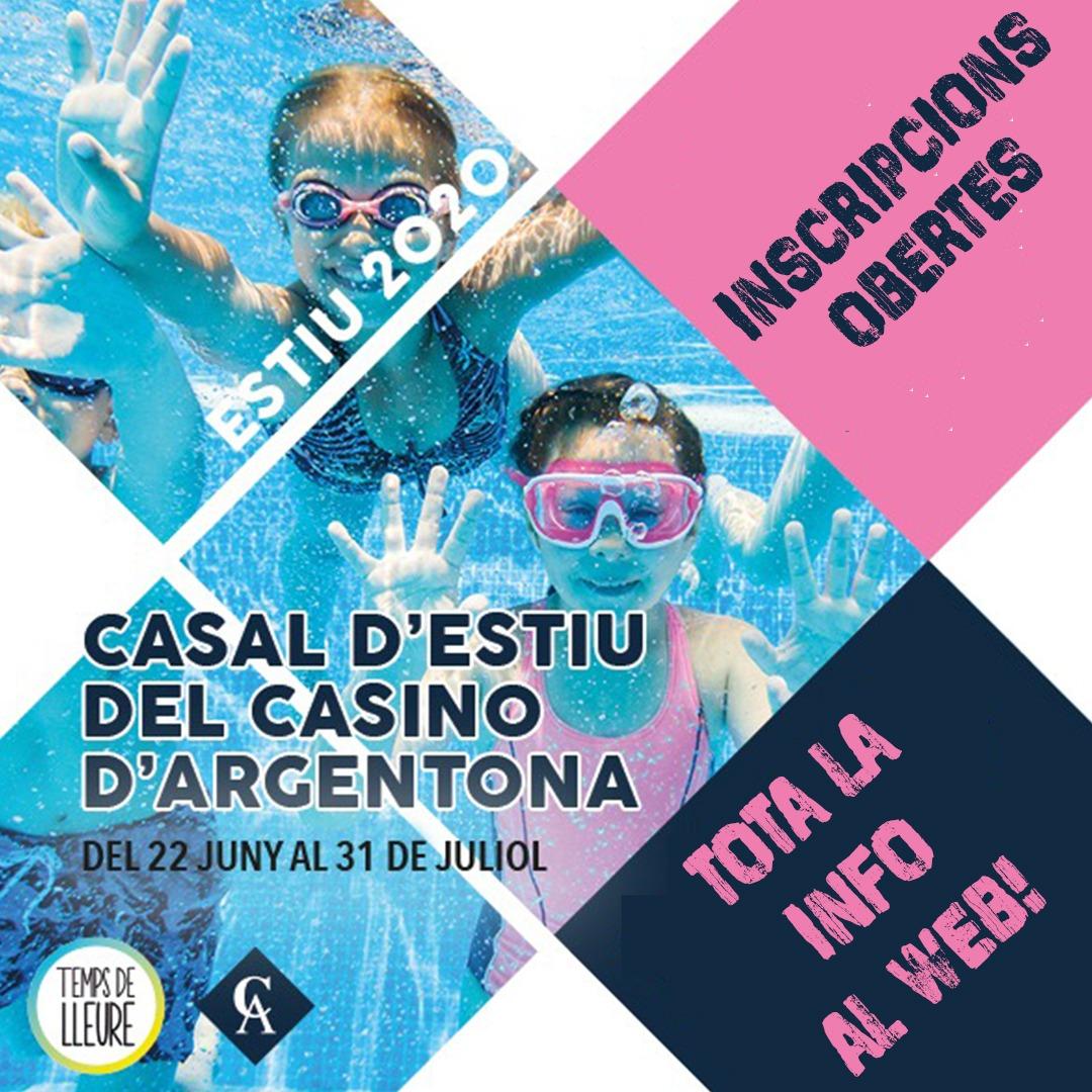 📣INSCRIPCIONS OBERTES! Ja podeu reservar la vostra plaça pel Casal d'estiu del @casinoargentona 🏊♀️🎾 Tota la informació i inscripcions online al web☺ https://t.co/5lFG6U8w72 #Tempsdelleure #casalsdestiu #Argentona #Casinoargentona #casals #estiu2020 #piscina #natació #tennis https://t.co/AcRNsZ5QTO
