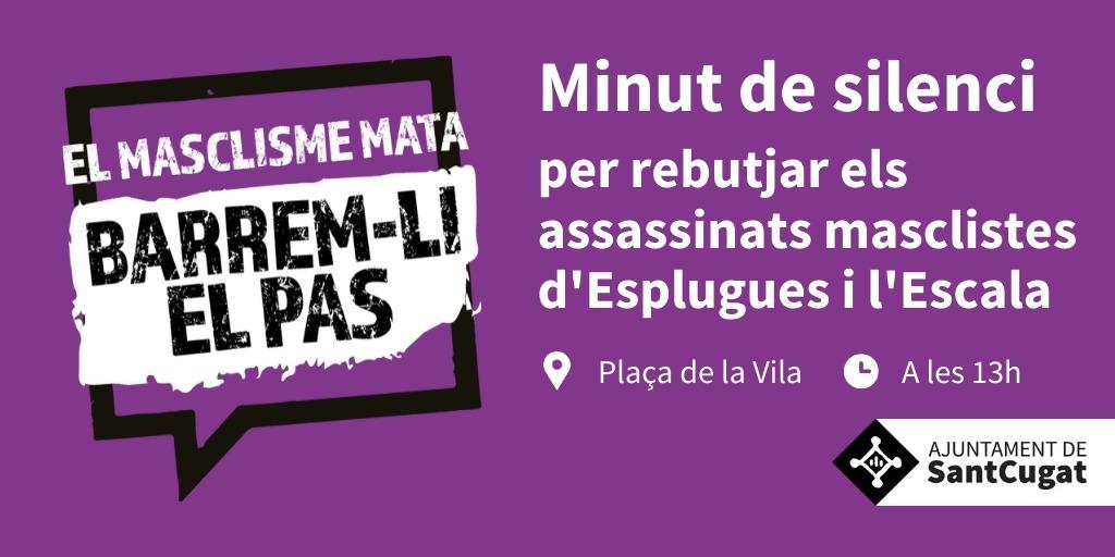 🟪Avui dilluns, a les 13h, #Santcugat fa un minut de silenci en memòria de les víctimes de violència masclista d'Esplugues i l'Escala.   👉Recordem a la ciutadania que, per assistir al minut de silenci, cal mantenir la distància de seguretat