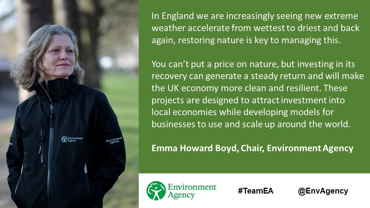 An important announcement today from @EnvAgency, @triodosuk, @DefraGovUK and @EsmeeFairbairn. Four projects that restore valuable habitats will receive funding to encourage private sector investment in the natural environment: https://t.co/de6U1bs1ud https://t.co/oMhww2qIr9