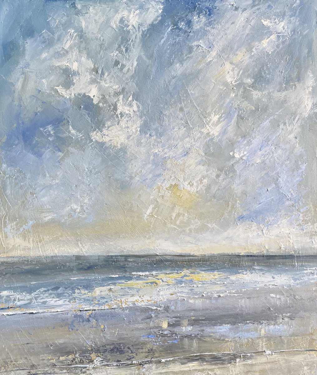 Hoping to get this one ready to hang today. I want to see it in the dining/gallery for awhile to decide if finished. A Breezy Walk On The Beach #seascape #oils #bigskies #breeze #clouds #sun #isolationpainting