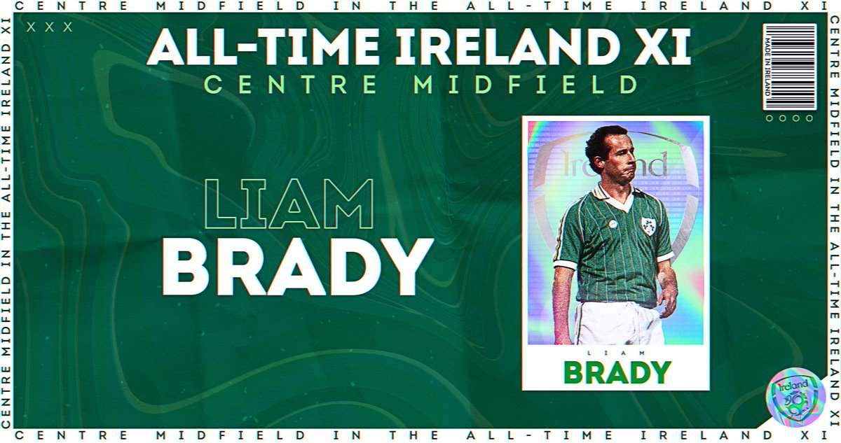 All-Time Ireland XI 🇮🇪 Filling up now! Goalkeeper: Shay Given Right-Back: Seamus Coleman Left-Back: Denis Irwin Centre-Backs: Richard Dunne, Paul McGrath Right Midfield: Ray Houghton Left Midfield: Damien Duff Centre Midfield: Liam Brady, Roy Keane