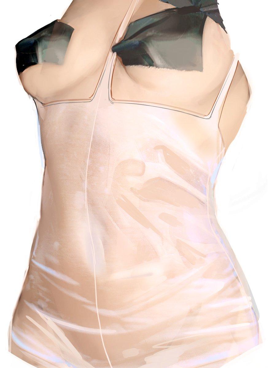 濡れ透けの描き方 リプに下シャツなしのバージョンもあります