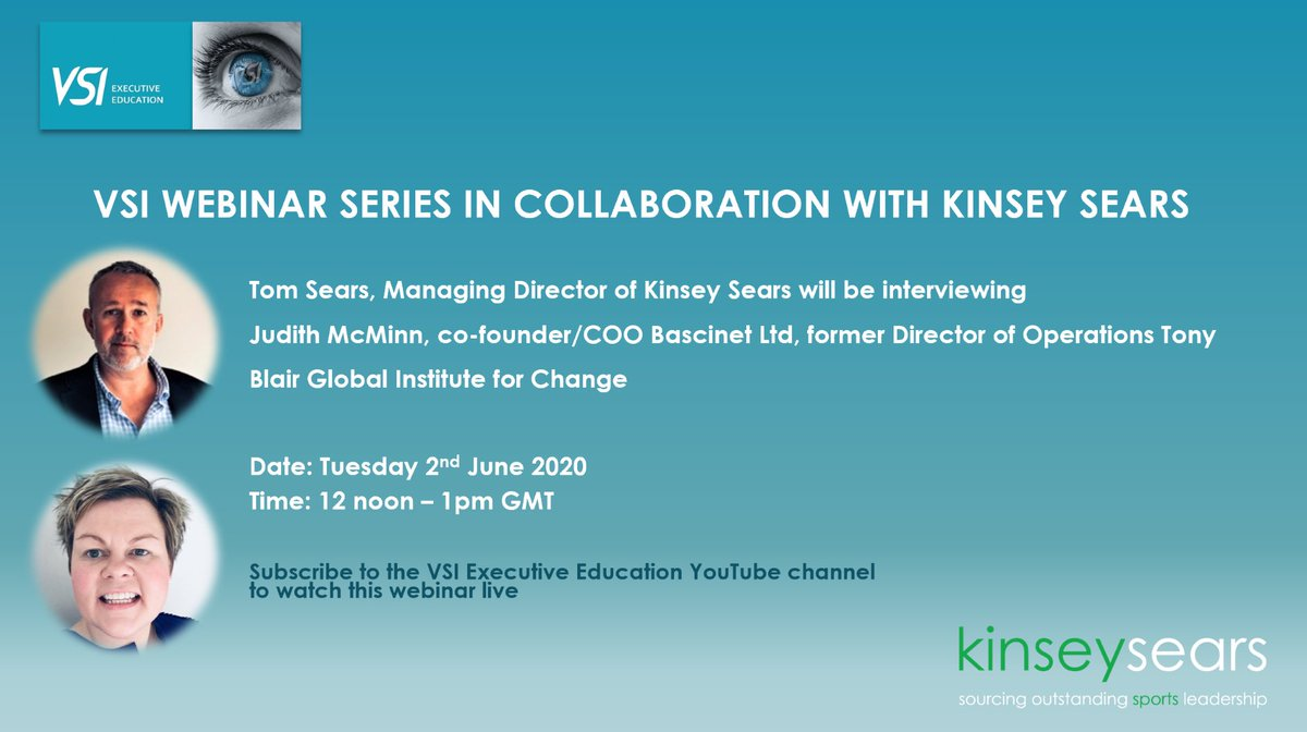 Former COO to Tony Blair Judith McMinn will be guest speaker on the VSI webinar series tomorrow Amongst other things topics for discussion will be. 👉 innovations in #Sport #Business & #Politics 👉 Tune in youtube.com/channel/UCFuY6… @WilksyR @fcbusiness @RachaelBurf12