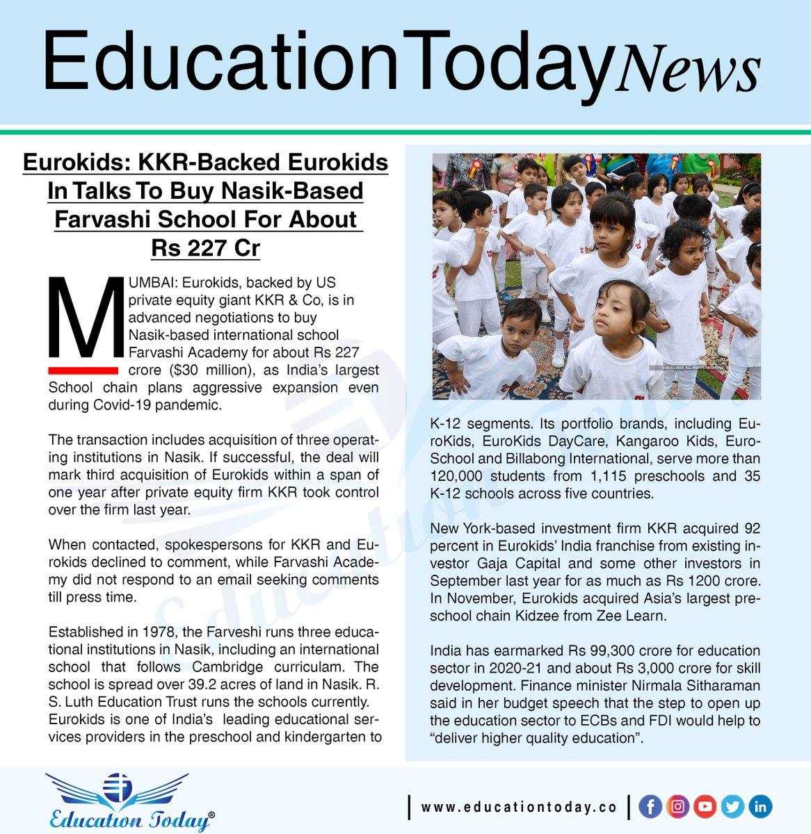 Eurokids: KKR-Backed Eurokids In Talks To Buy Nasik-Based Farvashi School For About Rs 227 Cr.    #eurokids #schools #lockdown