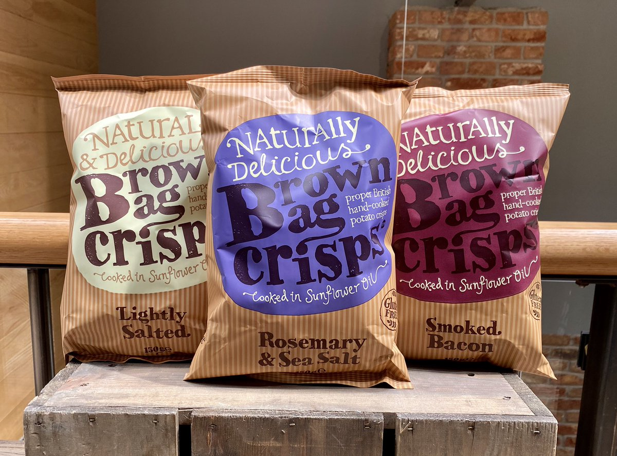 🥔 New supplier alert! We're now stocking @brownbagcrisps, a small family-run company based in Surrey. They make proper British hand-cooked crisps. We've got Lightly Salted, Rosemary and Sea Salt, and Smiked Bacon flavours. Yum! Find them in the shop for £2.20 a bag. https://t.co/B3nAj0okMx