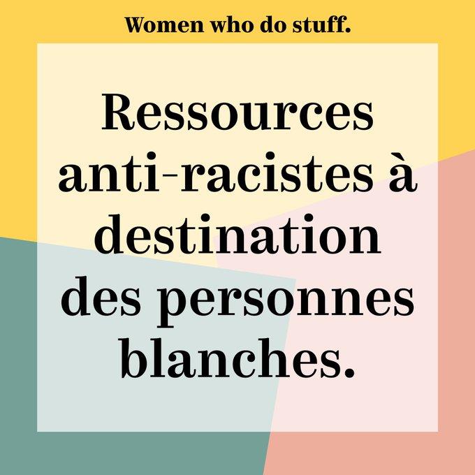 """Fond de couleurs avec écrit par dessus """"ressources anti-racistes à destination des personnes blanches""""."""