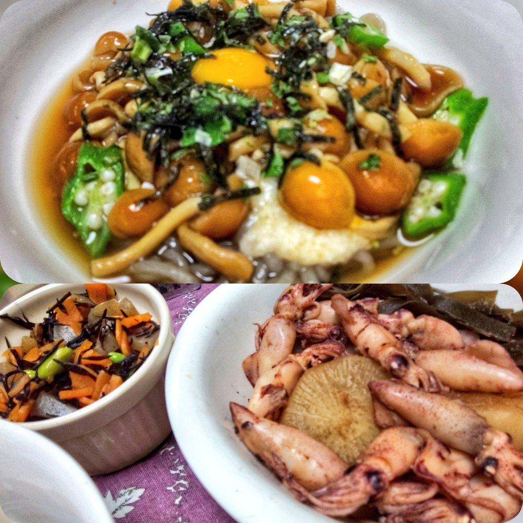 今夜のご飯  なめことろろ蕎麦 イカと大根の煮物  ひじき #今夜のご飯 #和食 pic.twitter.com/KJHQdfUvVT