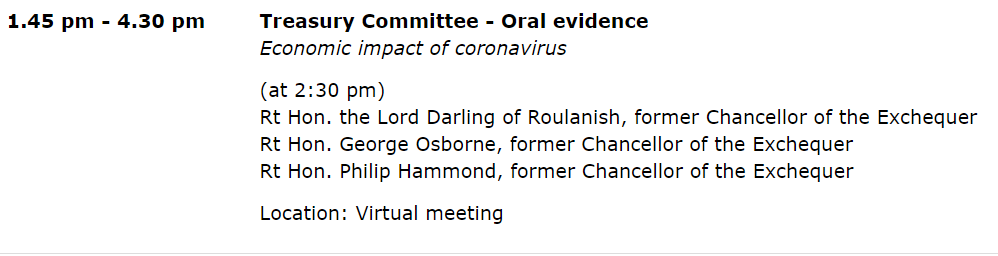 4/ Not transport-related, but on Wed @CommonsTreasury will be hearing from three former Chancellors about #coronavirus and the economy. Likely to be an interesting watch: