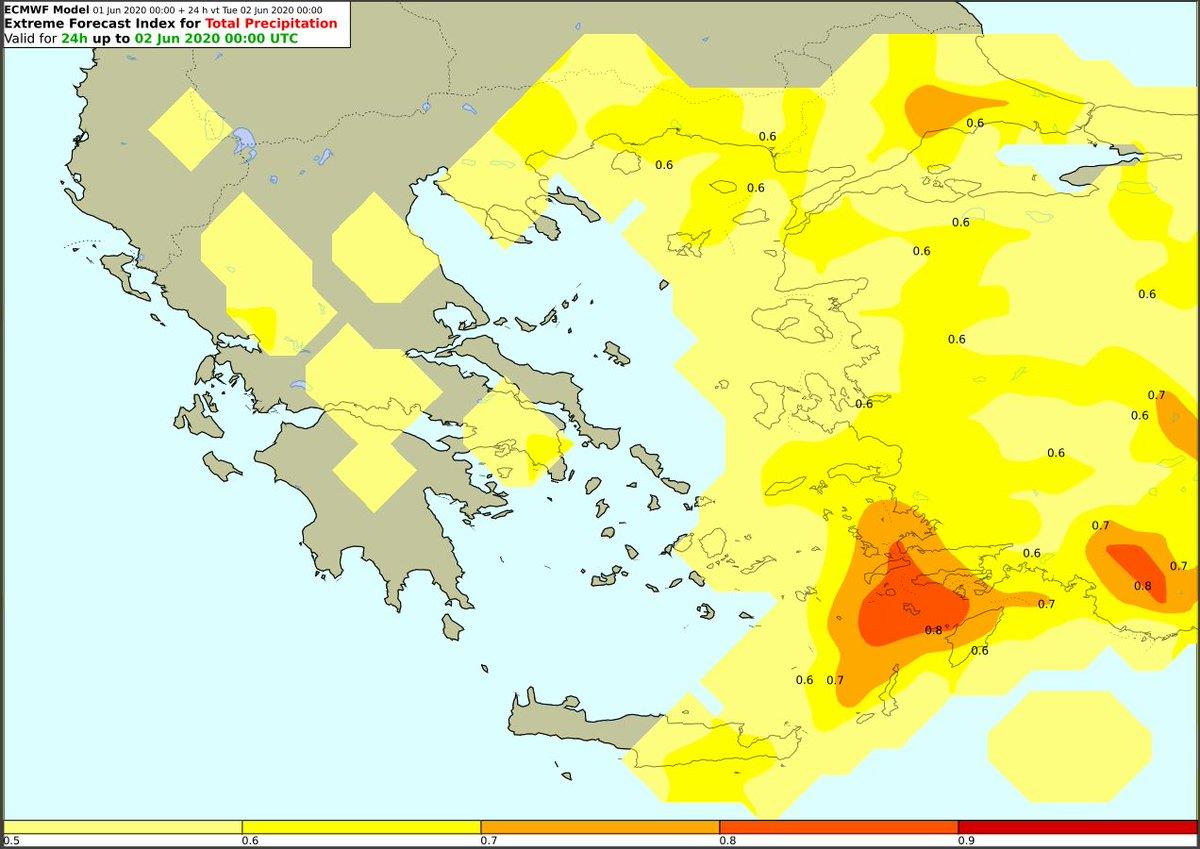 Έκτακτο Δελτίο Επιδείνωσης Καιρού (ΕΔΕΚ) Ισχυρές βροχές και καταιγίδες στα νησιά Βόρειου και Ανατολικού Αιγαίου και τα Δωδεκάνησα καθώς επίσης σατ ηπειρωτικά και Ανατολική Κρήτη Περισσότερα στο δελτίο μhnms.gr/emy/el/warning… Ο Extreme Forecast Ιndex (EFI) κόκκινος σε Δωδεκάνησα
