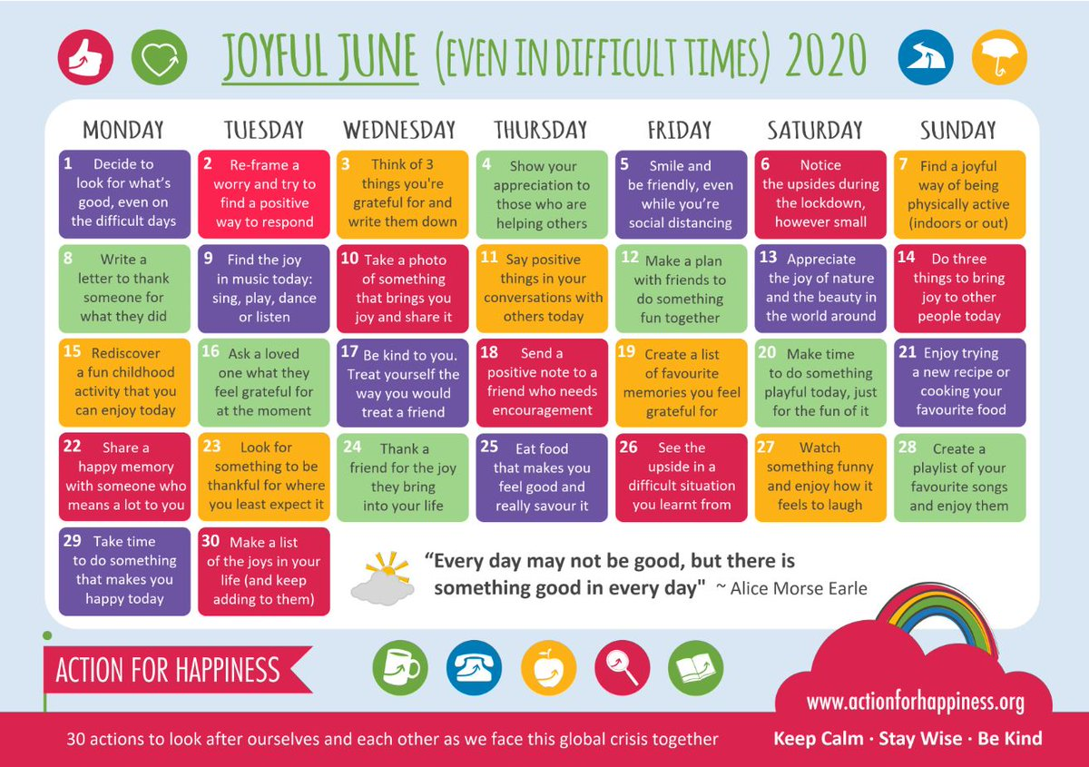 RT @MayflowerPSch: And here's some lovely ideas of how to be Joyful in June from @actionhappiness