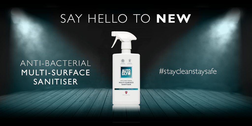 Anti-Bacterial Multi-Surface Sanitiser is an all-purpose sanitiser that effectively kills 99.99% of bacteria and harmful micro-organisms found in and around your vehicle.  #autoglym #antibacterial #antibac #staycleanstaysafe https://t.co/IJpcbeKvdP