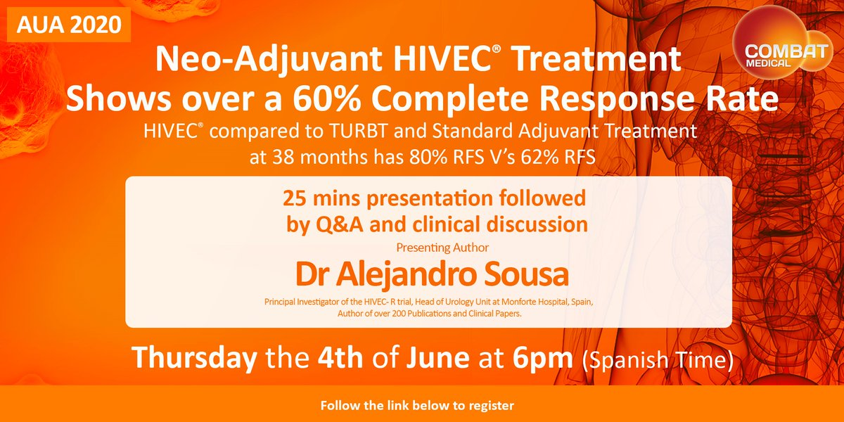 Don't forget to register for tomorrow's clinical discussion on HIVEC-R, look forward to seeing you and sharing this data that was selected for AUA20 #HIVEC