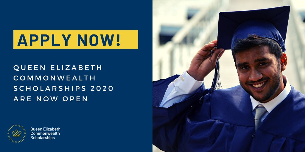 Queen Elizabeth Commonwealth Scholarship for Postgraduate Study 2020/2021 (Fully-funded) This is a unique opportunity to study for a two-years Master's degree in low or middle-income country of the Commonwealth. Details: bit.ly/3cpi6o9 - apply by July 9