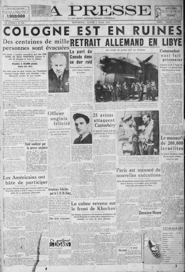 La Une du journal La Presse, 1er juin 1942 https://t.co/6KTwZO29Cn