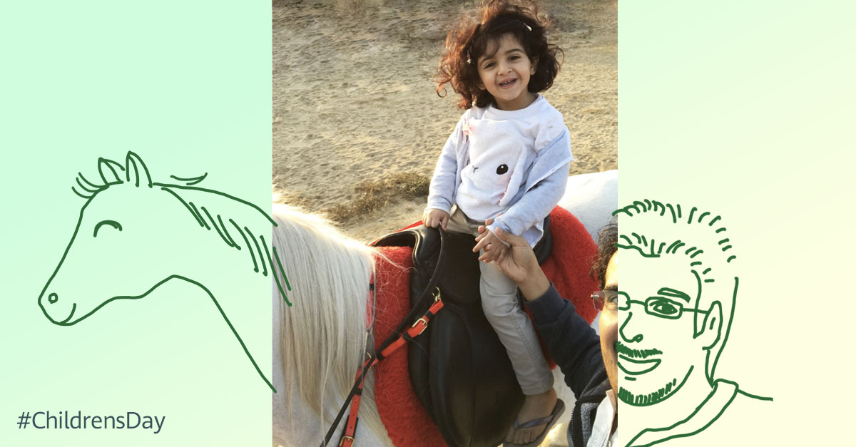"""My big day with the #pony. 🐴 😊 A photo taken by my dad."" Happy #Childrensday! Photo from our employee Ali."