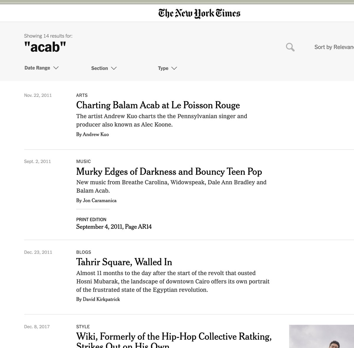 """@WillOremus @NYT_first_said @karenyhan also, it doesn't seem that its use today could be the literal first time the NYT has ever printed """"acab"""", since that is also the name of a musician the NYT has written about, Balam Acab, including at least 1 print article"""