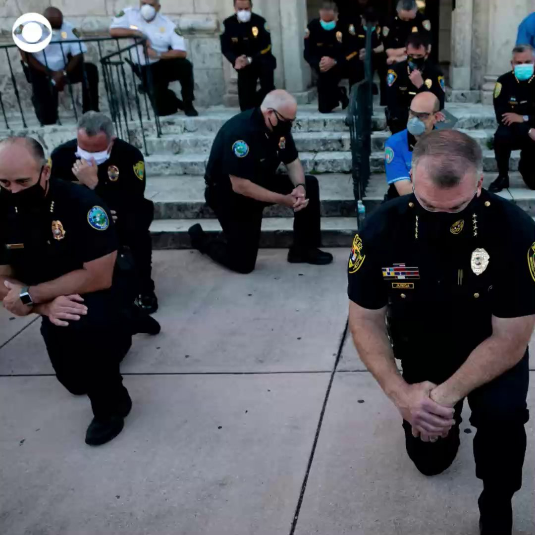 WATCH: Police officers across the country kneel and march in solidarity with protesters. https://t.co/QnuWcH6fPL