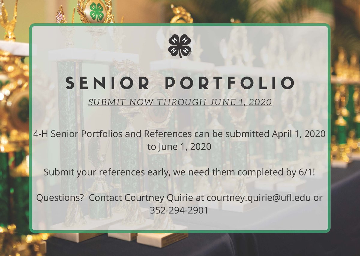 Today is the last day to submit your Senior Portfolios. Please do so by 4 p.m. today.