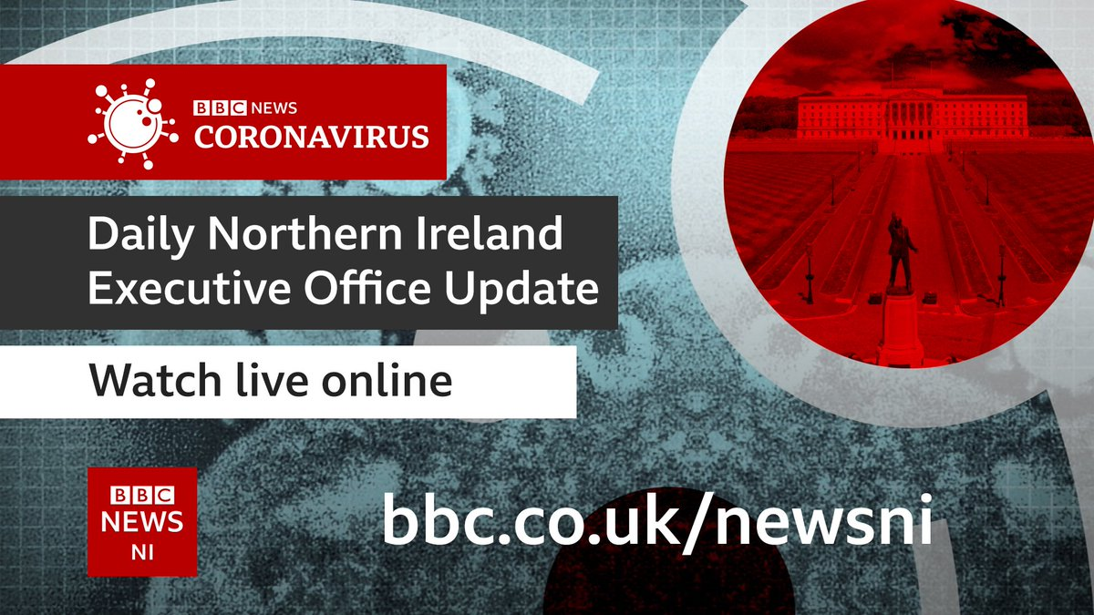 The #Covid19 briefing from Stormont is due to begin at 4.10pm. You can watch it live on the BBC News NI website - bbc.in/2Uf6G0n - and on the Northern Ireland section of the BBC iPlayer.