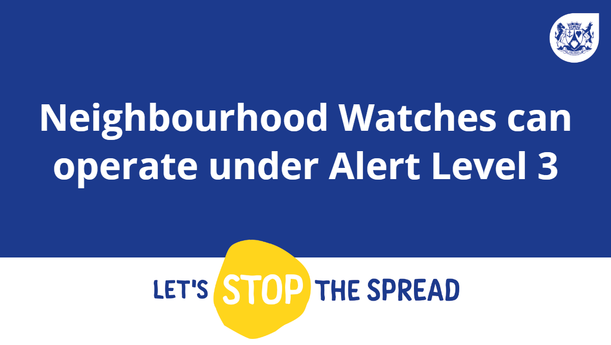 During a meeting today between officials of the Department of Community Safety and the National Secretary of Police, it was confirmed that the restrictions placed on Neighbourhood Watches have been lifted under Alert Level 3. Read the full statement here: https://t.co/LJStvfhSdj. https://t.co/X9QWsm5Kv8