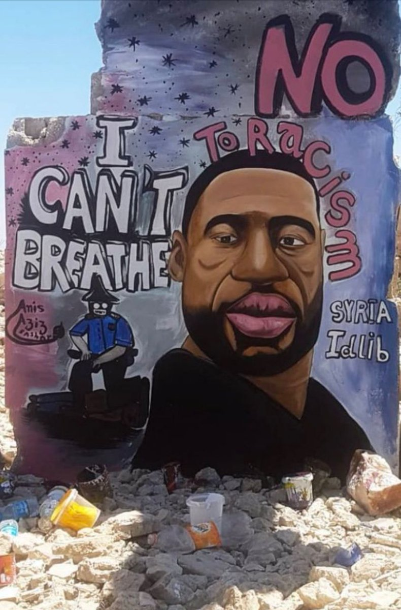 #ICantBreathe  Powerful mural in solidarity with #GeorgeFloyd.  A powerful mural on the ruins of a home destroyed by Assad regime/Russian warplanes in Binnish, #Idlib.  #Syria #JusticeForGeorgeFloyd #Americapic.twitter.com/LxJvrCGZmI