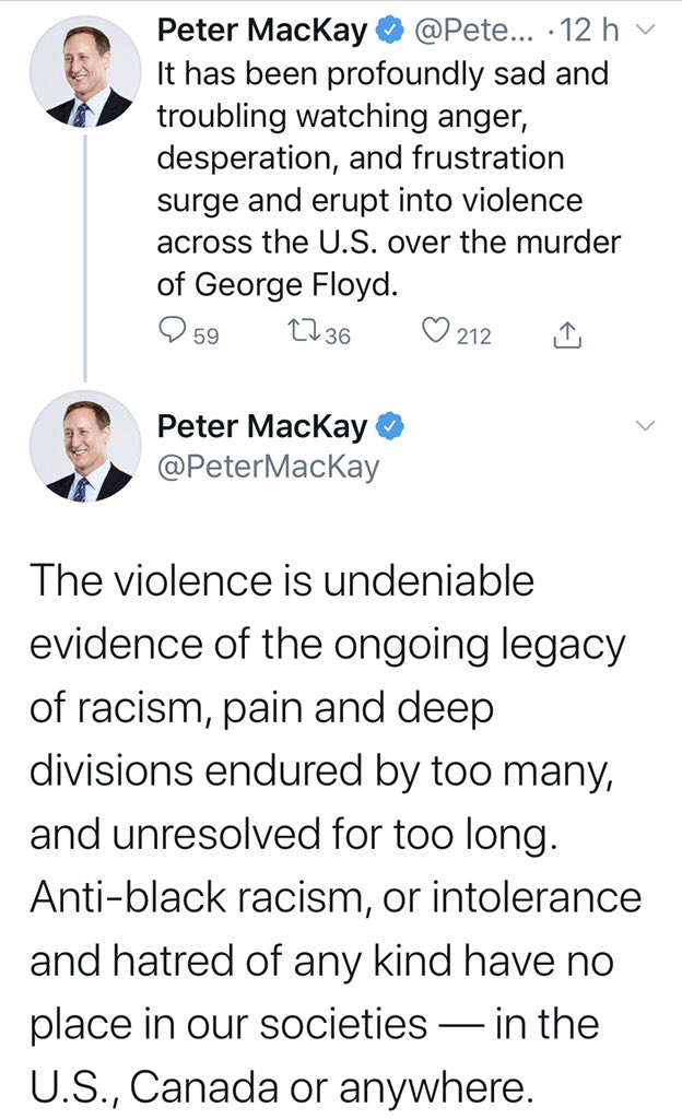 Stop legitimizing violence @PeterMacKay.  Peaceful protest against police brutality is absolutely justified.  Rioting, looting, burning, beating and killing perpetrated by uncivilized thugs are NOT evidence of the legacy of racism and are completely unjustified. https://t.co/rTHu3fr5bF