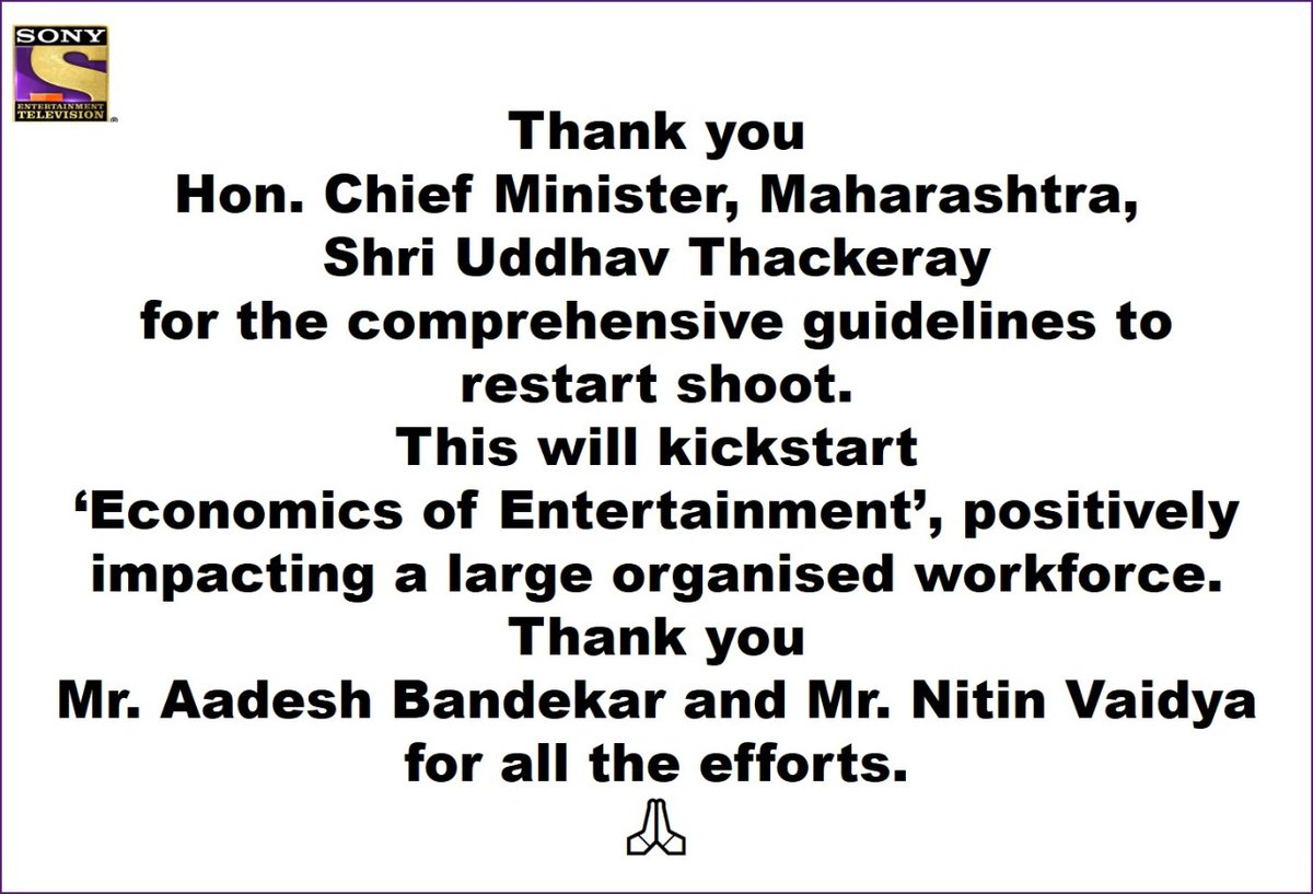 This will bring back happiness & laughter to millions of homes... as well as the livelihoods of so many workers from our fraternity 🙏🏼  @CMOMaharashtra @aadeshbandekar and Nitin Vaidya.  🙏🏼 @OfficeofUT @SonyTV @001Danish