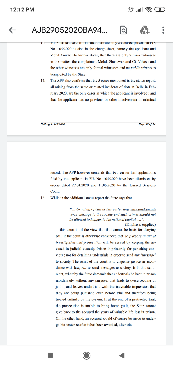 Some important observations by Bhambani J in this bail order today.