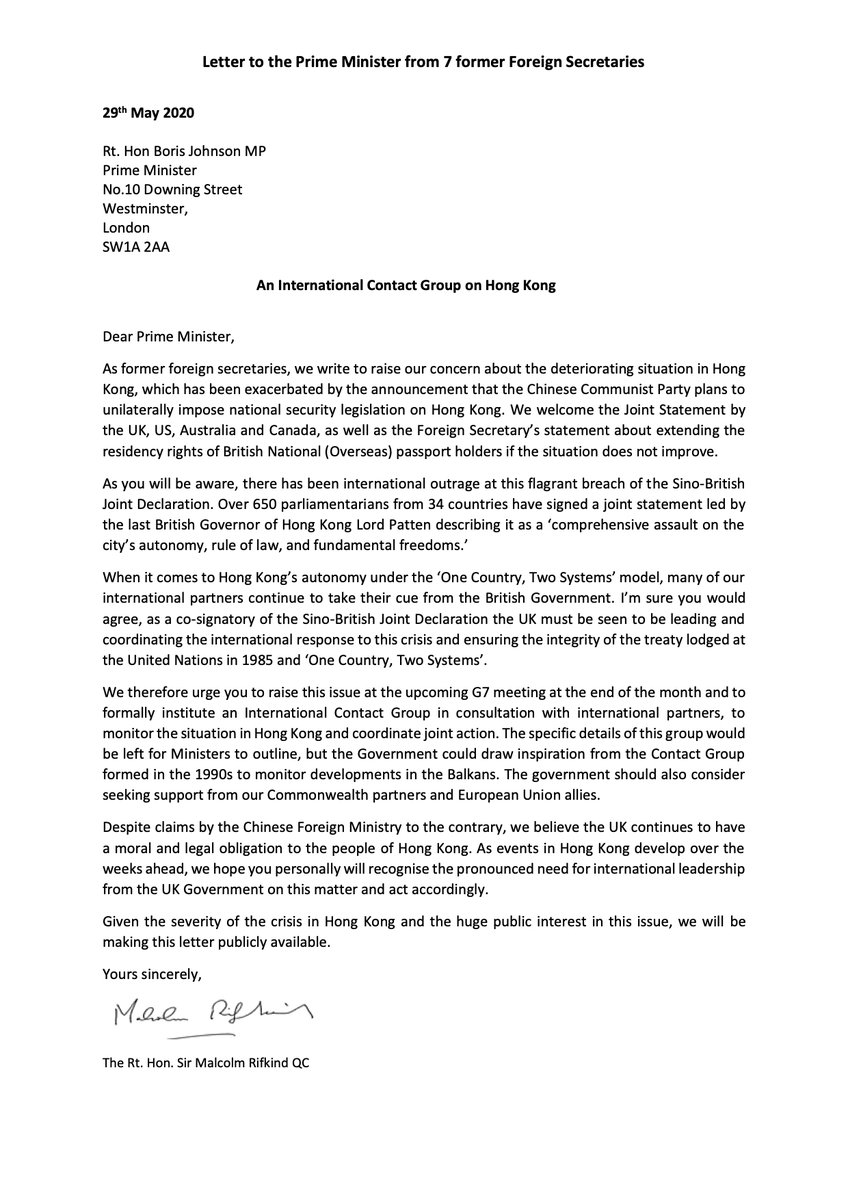 The letter to Boris Johnson on Hong Kong I have signed with six other Fromer Foreign Secretaries. https://t.co/PGjMljs8xf