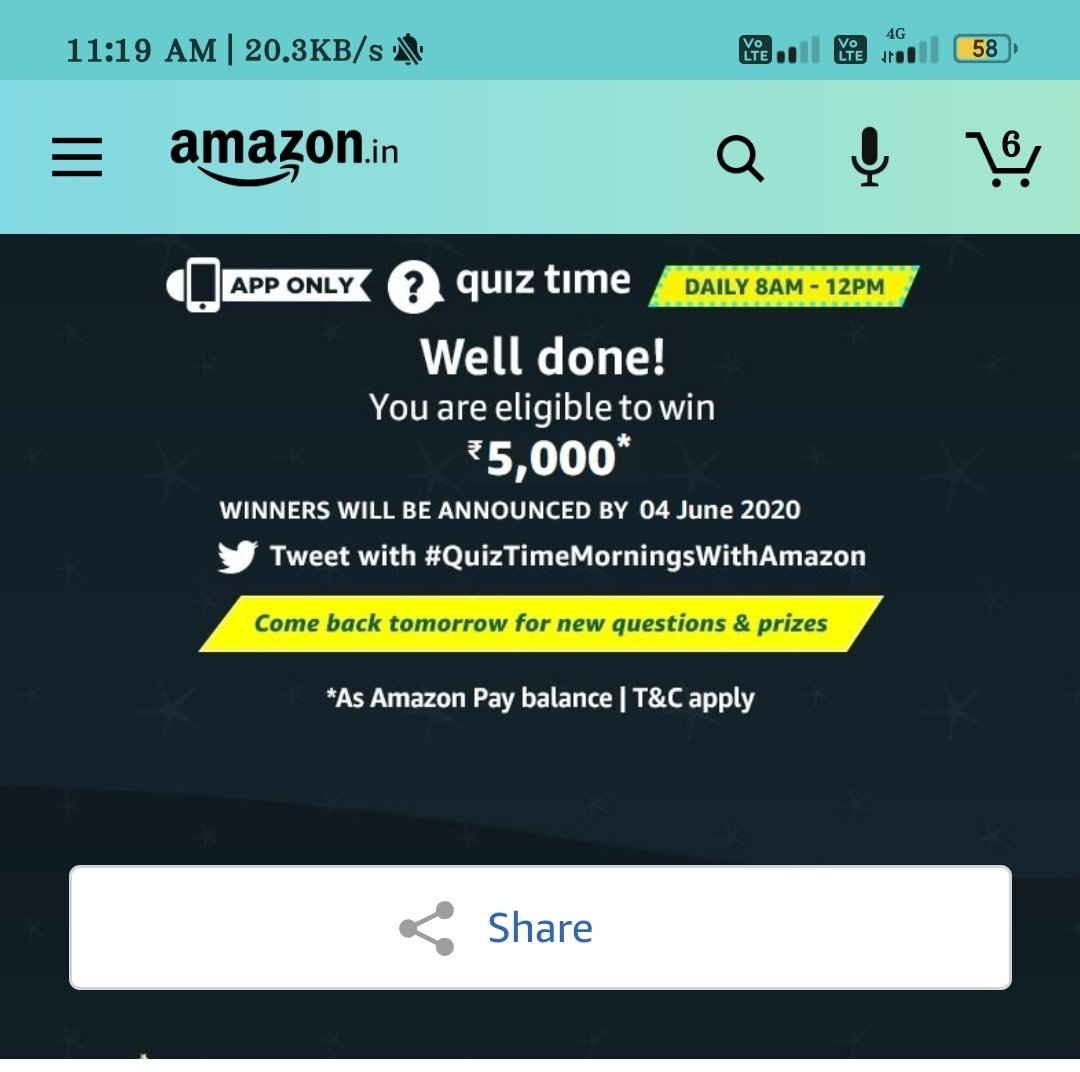 Golu prajapati @golupra98850283  #QuizTimeMorningsWithAmazon pic.twitter.com/E60yhJFwAb
