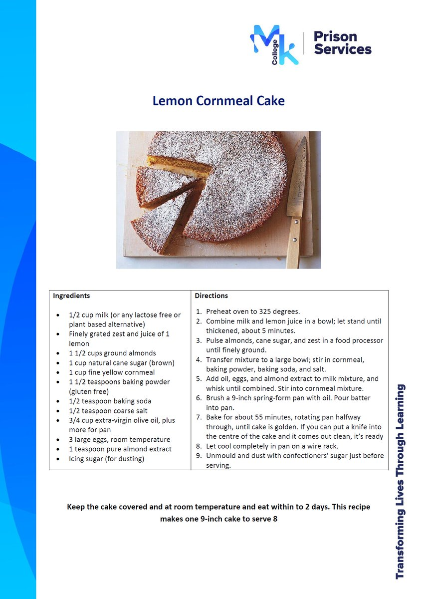 Elaine from the @MKCollege team at HMP Gartree has kindly shared her recipe for Lemon Cornmeal Cake - looks delicious! #LockdownBaking https://t.co/Yze0NfLPeq