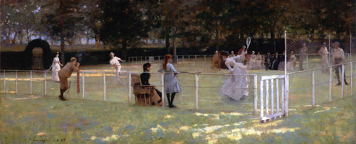 The Tennis Party (1885) by John Lavery (Ireland, 1856-1941). The City of Aberdeen's Galleries and Museums. #Victorian #Sport pic.twitter.com/IpJ7iDMuxa