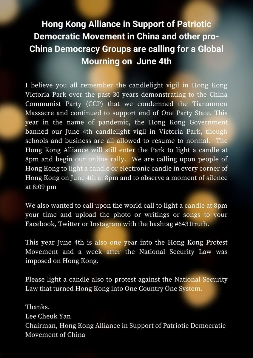 Police have now officially banned the annual June 4th vigil in Victoria Park for the 1st time in 30 years. I'm reposting this message from Lee Cheuk-yan calling for individual commemoration across Hong Kong and the world #6431truth #StandWithHongKong https://t.co/S9gWyL5A73 https://t.co/A3Rxwp978X