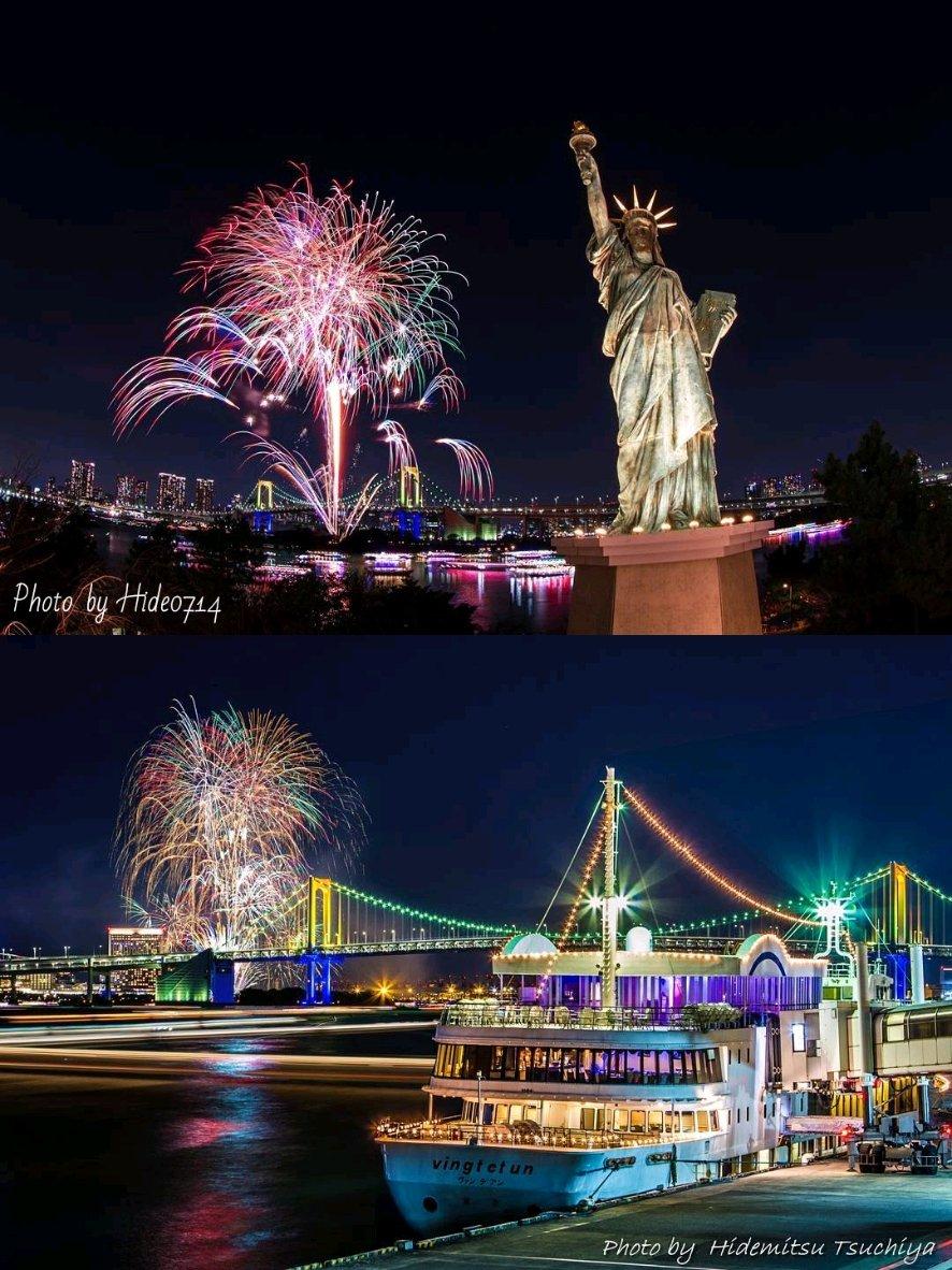 今日の花火、自分と同じくお台場と読んでた人が沢山いたみたいなので、見れなかった人の為に過去のお台場レインボー花火の画像をどうぞ  #花火 #Fireworks #お台場 #レインボー花火 #自由の女神 #CheerUp花火プロジェクト  #cheeruphanabipic.twitter.com/WtDGRlCE1j