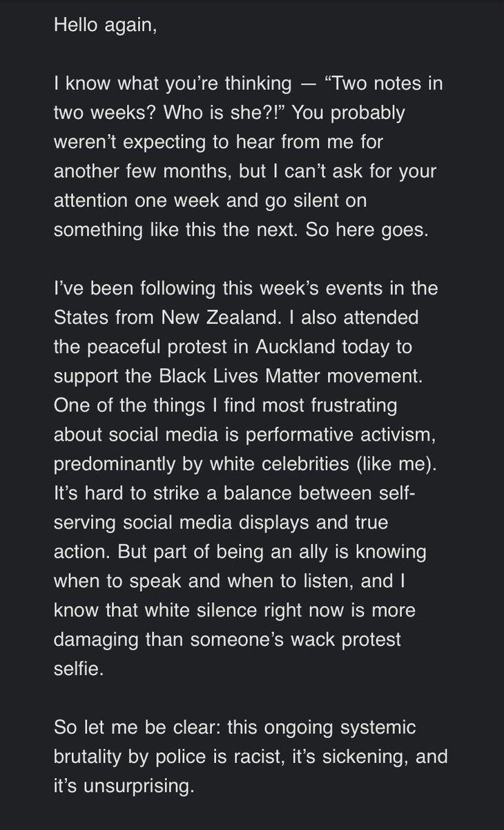 Lorde's latest email on the current events of #BlackLivesMatter. Link: lorde.us15.list-manage.com/track/click?u=…