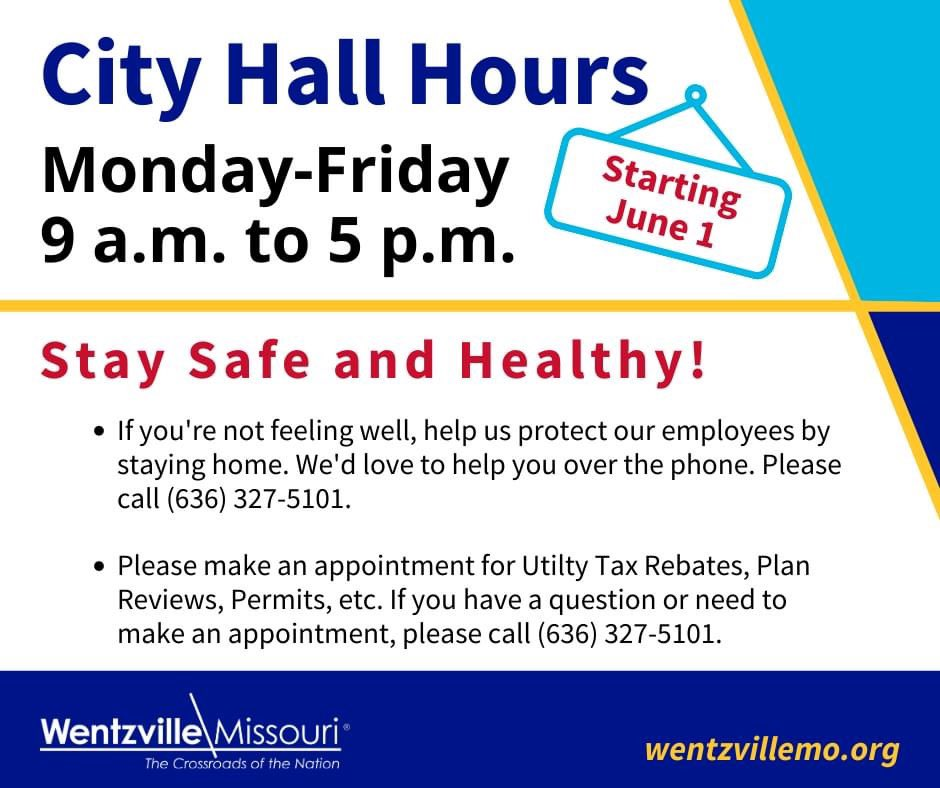 As of today, June 1, City Hall will be re-open to the public from 9 a.m. to 5 p.m., Monday through Friday. Health & safety precautions have been put in place to protect our visitors & employees. Please call (636) 327-5101 to make an appt for utility tax rebates, plan reviews, etcpic.twitter.com/yqrAvZfXfb