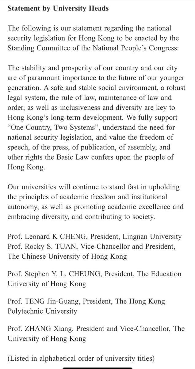 """Joint statement by the Vice-Chancellors of 5 Hong Kong universities on #NatSecLaw is disappointing.  But it won't go unnoticed that the text is full of qualifications; """"FULLY SUPPORT 1 country, 2 systems"""" but """"UNDERSTAND the need for national security legislation"""" h/t @phila_siu https://t.co/Q68voVSs1a"""