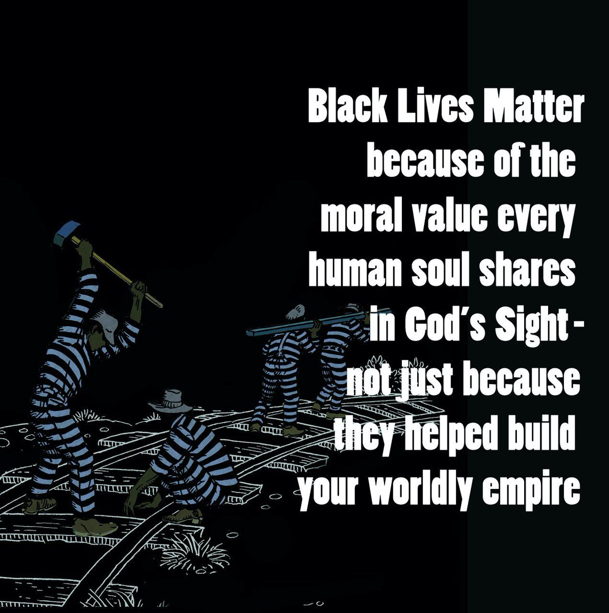 """Black Lives Matter because of the moral value every human soul shares in God's sight - not just because they helped build your worldly empire.""  Yusuf  #BlackLivesMatter https://t.co/Ftd1kcNyGa"